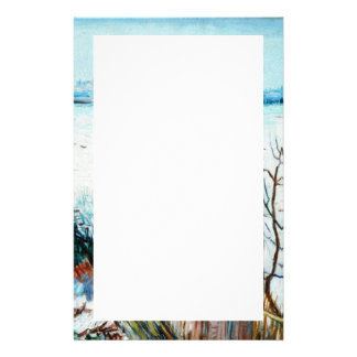 Snowy Landscape with Arles in the Background by Va Stationery