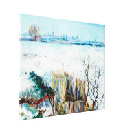 Snowy Landscape with Arles in the Background Stretched Canvas Prints