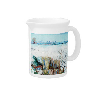 Snowy Landscape with Arles in the Background Beverage Pitchers