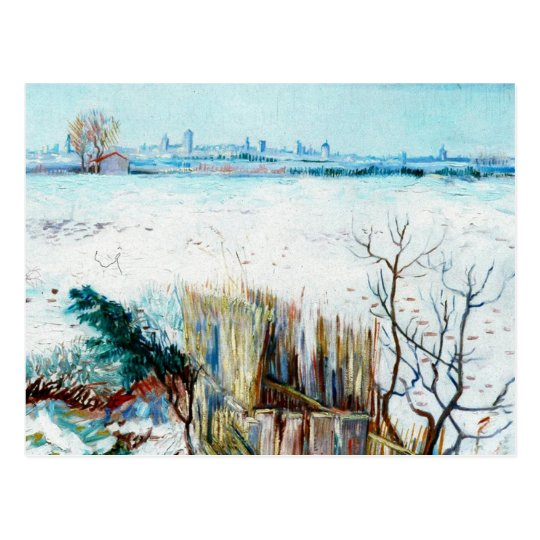 Snowy Landscape with Arles in the Background Postcard