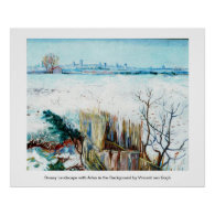 Snowy Landscape with Arles in the Background Print