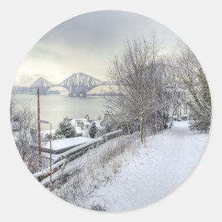 Snowy Lane Classic Round Sticker