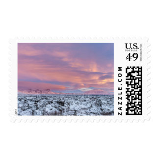 Snowy Lava field landscape, Iceland Postage