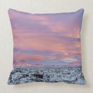 Snowy Lava field landscape, Iceland Throw Pillow