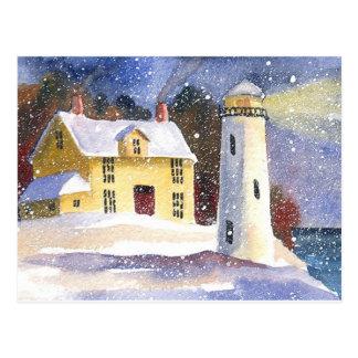 Snowy Lighthouse Winter Postcard