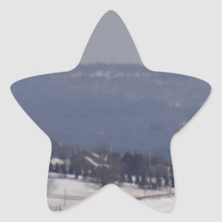 Snowy little back country road star sticker
