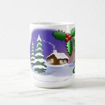 Snowy Log Cabin Christmas Mug