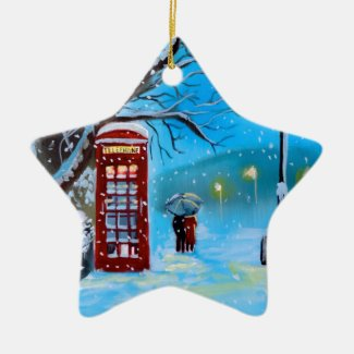 Snowy London winter couple red umbrella Ceramic Ornament