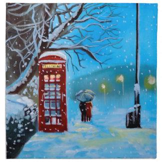 Snowy London winter couple red umbrella Cloth Napkin