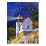 Snowy Maine Lighthouse Postcard