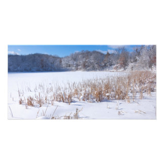 Snowy Marthaler Pond Winter Scenic Personalized Photo Card