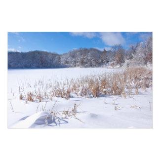 Snowy Marthaler Pond Winter Scenic Photographic Print