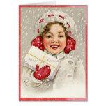 Snowy Merry Christmas Vintage Girl Greeting Card