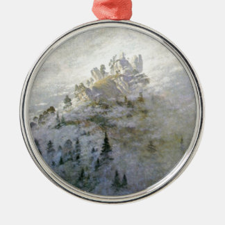 Snowy Mist on the Mountains Metal Ornament