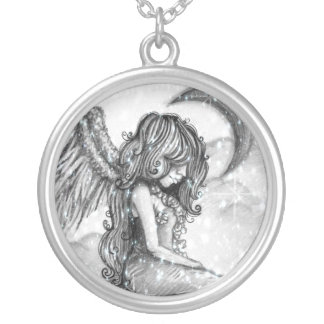 Snowy Moon Angel Necklace