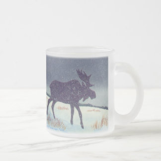 Snowy Moose Frosted Glass Coffee Mug