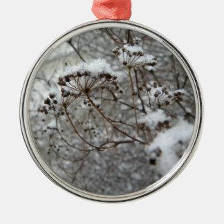 snowy morning metal ornament