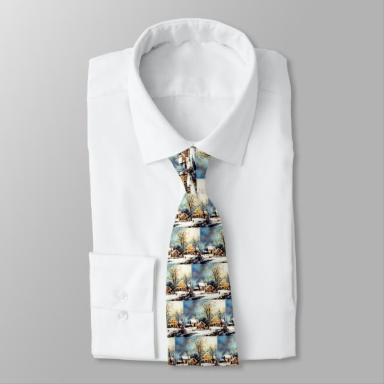 Snowy morning neck tie