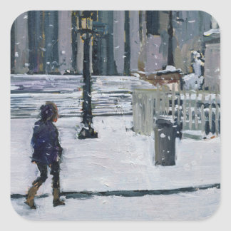 Snowy morning St. Paul's Cathedral 2009 Square Sticker