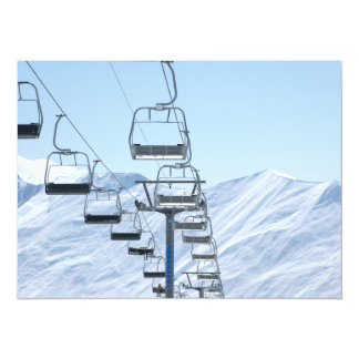 Snowy Mountain Chairlifts Card