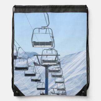 Snowy Mountain Chairlifts Drawstring Bag