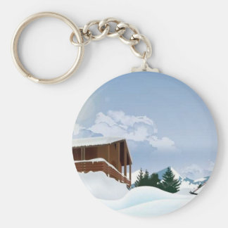 Snowy mountain key chain