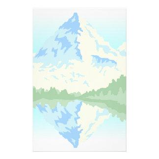 Snowy Mountain Lake Reflection Personal Stationery
