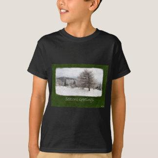 Snowy Mountain Landscape - Seasons Greetings T-Shirt