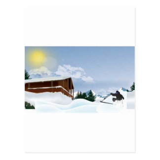 Snowy mountain postcard