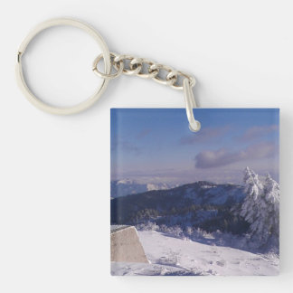 Snowy Mountain Top High Overlooking Valley Key Chains