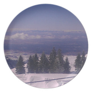 Snowy mountain top ridge melamine plate