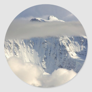 Snowy Mountain top with Clouds Classic Round Sticker