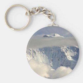 Snowy Mountain top with Clouds Keychain