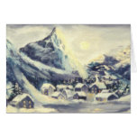 Snowy Mountain Village Oil Painting Card