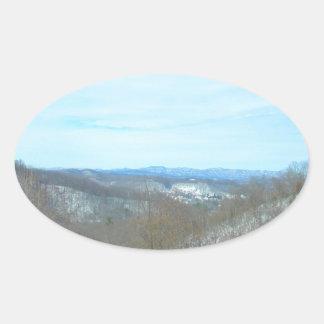 Snowy Mountain West Virginia Overlook Oval Sticker