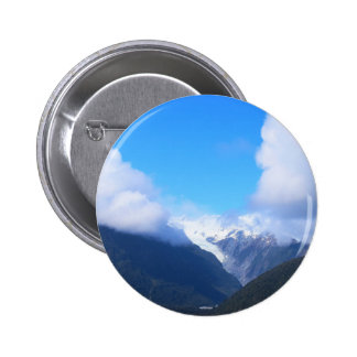 Snowy Mountains, New Zealand Glacier, Aerial View Button