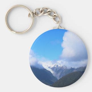 Snowy Mountains, New Zealand Glacier, Aerial View Keychain