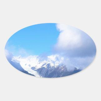 Snowy Mountains, New Zealand Glacier, Aerial View Oval Sticker
