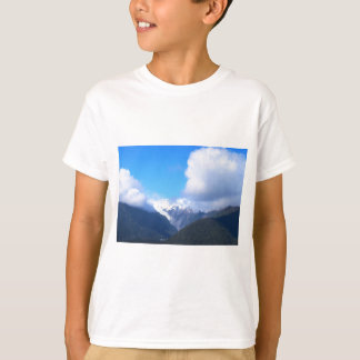 Snowy Mountains, New Zealand Glacier, Aerial View T-Shirt
