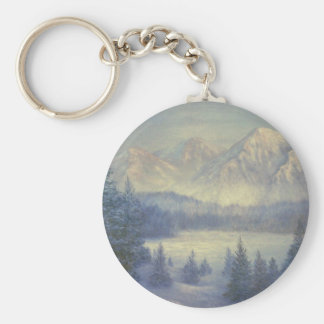 SNOWY MOUNTAINS, oil painting Keychains