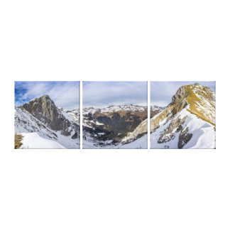 Snowy Mountains Valley - Triptych Canvas Print
