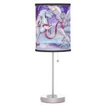 Snowy Mysitical Unicorn Table Lamp