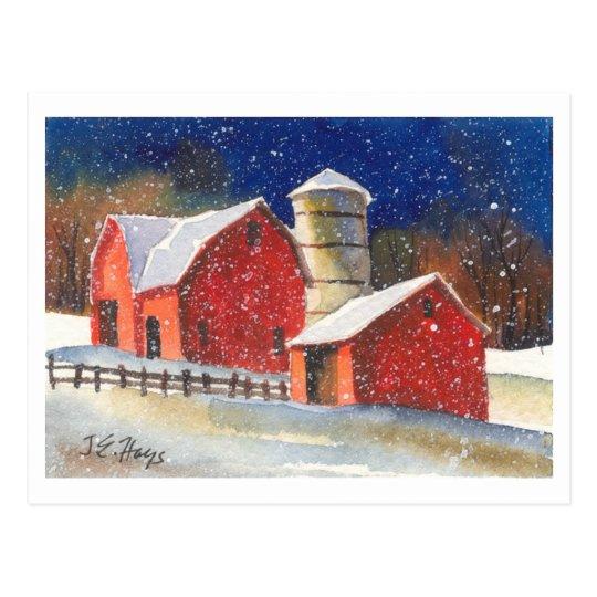 Snowy New England Barns Postcard