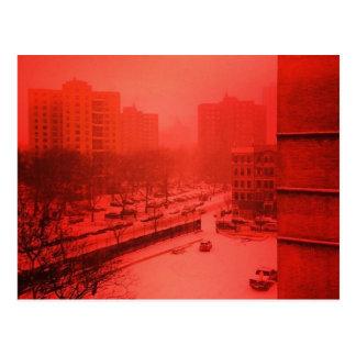 Snowy New York City in Red Postcard