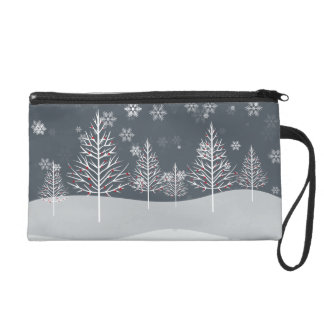 Snowy Night and Winter Trees Bridal Party Wristlet