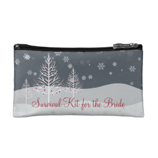 Snowy Night and Winter Trees Bridal Survival Kit Cosmetics Bags