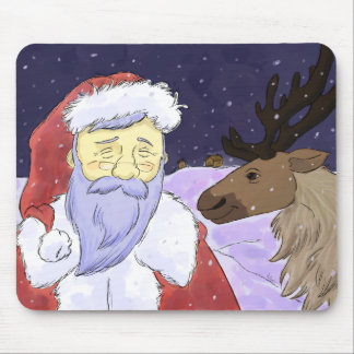 Snowy Night Christmas Santa and Reindeer Mouse Pad