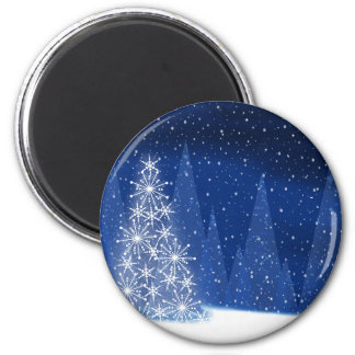 Snowy Night Christmas Tree Holiday Design Magnet