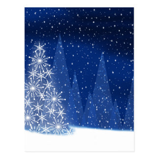 Snowy Night Christmas Tree Holiday Design Postcard