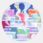 Snowy night classic round sticker